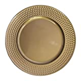 Gold Plastic Hammer Edge Charger Plates - 12 pcs 13 Inch Round Wedding Party Decroation Charger Plates (Hammer Gold, 12)