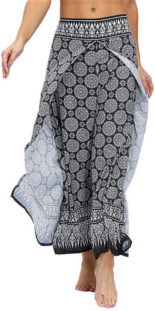 SANDYFU Womens Palazzo Slit Wide Leg Pants Summer Casual Beach Boho Pilate Print Hippie Pants