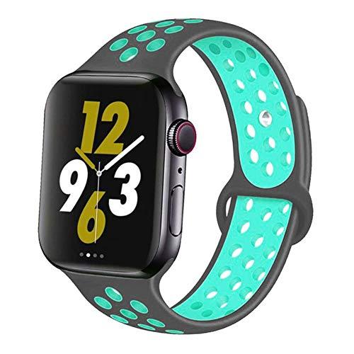 AIXIXI Correa Deportiva para Apple Watch Band 44Mm 42Mm para Iwatch Band 40Mm 38Mm Pulsera De Silicona Correa para Apple Watch 5 4 3, China, Grey-Duck Green