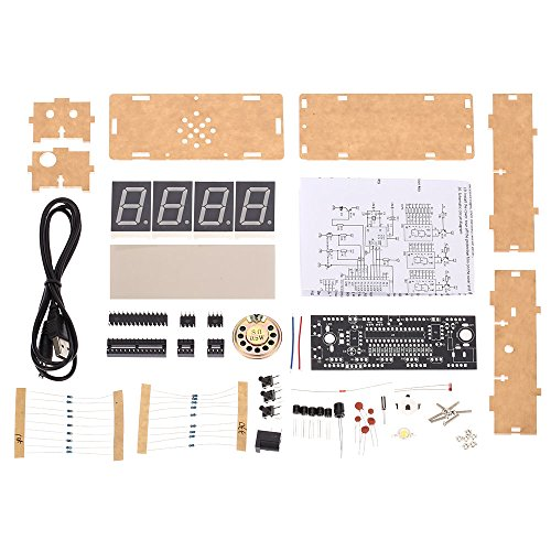 KKmoon 4-Digit Digital Clock Kits LED Talking Clock DIY kit with PCB for Soldering Practice Learning Electronics with English Instructions