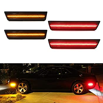 iJDMTOY  4  Smoked Lens LED Side Marker Lights Compatible With 2008-2014 Dodge Challenger Includes  2  Front Amber LED &  2  Rear Red LED