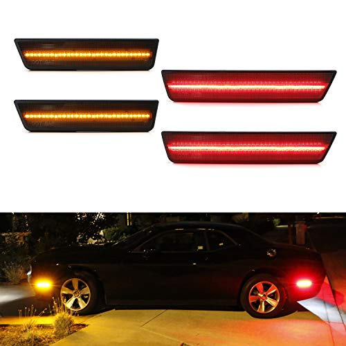 iJDMTOY (4) Smoked Lens LED Side Marker Lights Compatible With 2008-2014 Dodge Challenger, Includes (2) Front Amber LED & (2) Rear Red LED