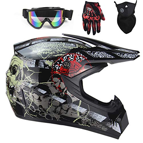 Motocross Helme Schutzhelm ATV Helm Motorrad Crosshelme & Adult Downhill Off Road Enduro Sport Motorradhelm mit Handschuhe Maske Brille (Schädel, S)