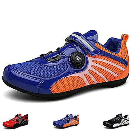 MIAOML Zapatos De Ciclismo De Carretera para Hombres, Hebilla Precisa Correa De Bicicleta De Montaña Zapatillas De Deporte Spin Zapatos Bicicleta Zapatos,Blue-EU39(US6.5)