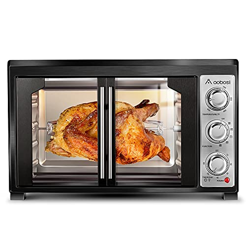 """Toaster Convection Oven Countertop Aobosi Convection Toaster Oven Electric Rotisserie Oven Pizza Oven French Single Door Pull Bake/Toast/Roast/Heat 47QT/45L Extra Large 1500W Stainless Steel 27X19X20"""""""
