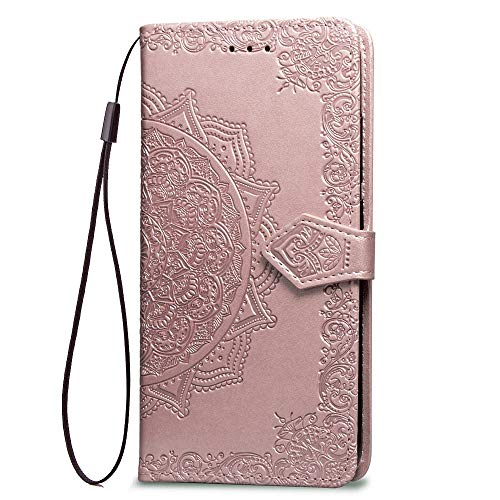 LAGUI Hülle, für Motorola Moto G7 Play, Schönes Muster Brieftasche Lederhülle (Silikonhülle, 3 Kartenfach, Ständerfunktion, magnetische Verschluss), Roségold