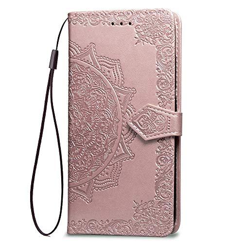 LAGUI Hülle Geeignet für Samsung Galaxy J4 Core, Schönes Muster Brieftasche Handyhülle. Roségold