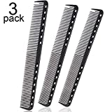 3 Pieces Carbon Fine Cutting Comb Carbon Fiber Salon Hairdressing Comb Hairdressing Comb Heat Resistant Barber Comb (Black)
