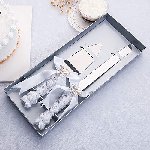 DÉCOCO 2 PCS Silk Rose Ribbon with Pearl Butterfly Bow Style Stainless Steel Wedding Cake Knife Cutter Server Set for Wedding Anniversary, Engagement, Birthday Party with Gift Box Butterfly Design Cake Knife