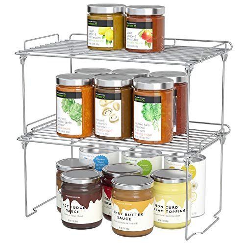 HapiRm Cupboard Organiser Kitchen Shelf Organiser, Dish and Spice Rack, Cupboard Shelf Stackable for Food, Kitchen Accessories and Utensils Made of Stainless Steel 2 Pack