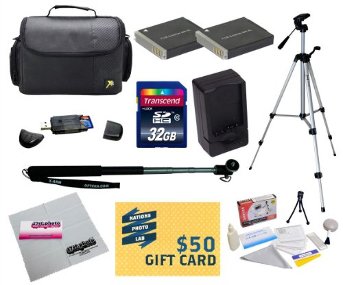 47th Street Photo Best Value Point & Shoot Ultimate Accessory Kit for Canon PowerShot SX170 IS SX280 IS S120 Digital Camera Includes 2 Extended Replacement NB-6L Battery + AC/DC Travel Charger + Pro 54 Inch Tripod + Self Portrait Monopod + Mini tripod + 32GB Transcend High Speed Error Free SDHC Memory Card + USB 2.0 Card Reader + Deluxe Carrying Case + Screen Protectors Photo Print ! Deluxe Cleaning Kit + More