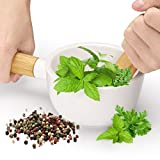 Porcelain Mortar and Pestle Set with Grip - Pill Crusher for Kitchen Herbs Pestos and Spices Grinder