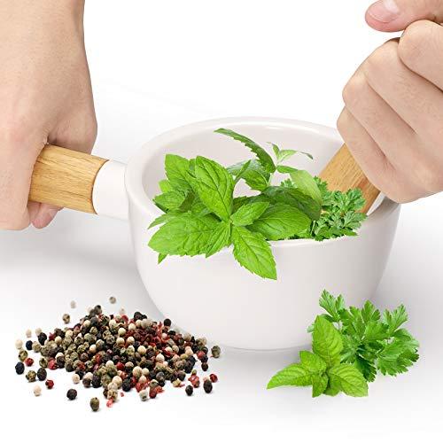 Mörser und Stößel aus Porzellan mit Griff – Pillenpresse für Küchenkräuter, Pestos und Gewürzmühle
