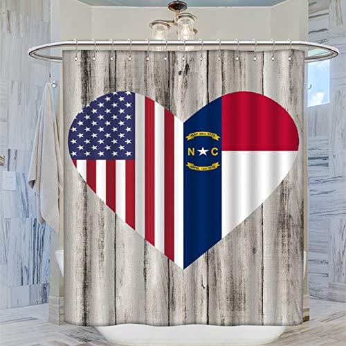 Trelemek Cortina de ducha con 12 ganchos de plástico lavable con diseño de corazón de la mitad de Carolina del Norte, 183 x 183 cm