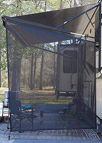 EXCELFU RV Awning Sun Shade 9'X7' RV Awning Shade Screen Black Mesh Screen Sunshade UV Sun Blocker Complete Kits for Motorhome Camping Trailer Canopy Side RV Awning
