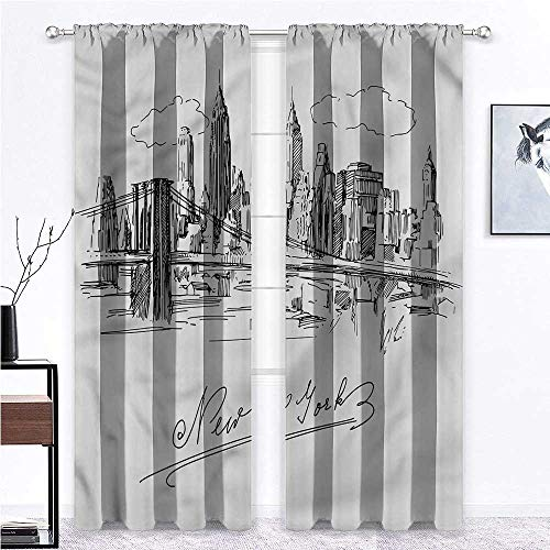 """Room Darkening Curtain NYC Soundproof Window Curtain Panels Modern Business Capital USA for Holiday Season Home Decoration 2 Rod Pocket Panels, 52"""" W x 72"""" L"""