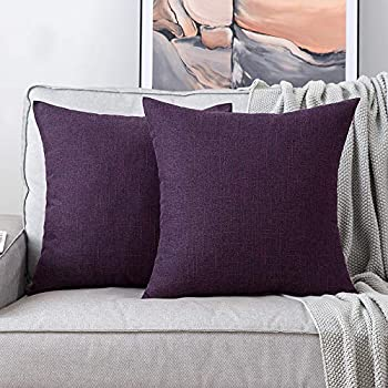 MIULEE Pack of 2 Decorative Square Throw Pillow Covers Farmhouse Style Linen Cushion Cases Vintage Decor Purple Pillow Cases for Couch Sofa Bedroom Car 18 x 18 Inch 45 x 45 cm