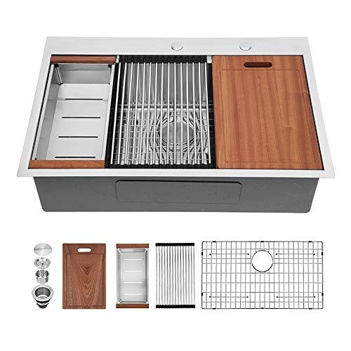 33 Drop in Kitchen Sink - Sarlai 33 Inch Ledge Workstation Drop-in Topmount 16 Gauge Stainless Steel Round Corner Single Bowl Kitchen Sink