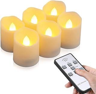 Velas LED sin Llama, otumixx Pack de 6 Velas LED Sin Fuego con Mando a Distancia y Temporizador, Velas Eléctricas con Baterías para Bodas, Cumpleaños, Fiestas, Navidad, Halloween