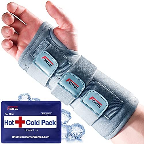 Carpal Tunnel Wrist Brace | Night Sleep Support Brace, Removable Metal Wrist Splint- Hot/Ice Pack, Right Hand, Small/Medium, Adjustable Hand Brace for Men, Women, Relieve and Treat Wrist Pain