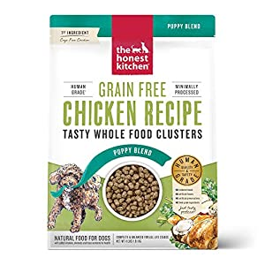 The Honest Kitchen Whole Food Clusters Human Grade Dry Puppy Food – Grain Free Chicken, 4 lb.