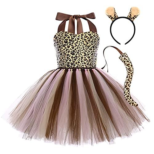 OBEEII 3Piezas Disfraz de Animal para Niñas Chicas Vestido de Leopardo/Jirafa/Cebra/Tigre/Vacas Tutu con Cola Diadema Cosplay Halloween Carnaval Traje Leopardo marrón 11-12 Años