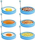 Winkeyes 6pcs Silicone Egg Rings, 4 Inch Egg Ring for Frying Eggs, Egg Mcmuffin Ring, Non Stick Fried Egg Ring Mold, Pancake Ring (6pcs) (Light Blue)