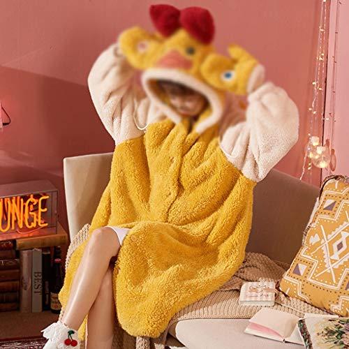 JYDQM Invierno Engrosado Coral vellón camisón Femenino Dibujos Animados con Capucha Flannel Pijamas Mujeres Dormir Ropa casa Ropa (Color : C, Size : XX-Large)