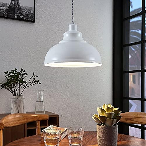 Lindby Pendelleuchte 'Albertine' (Retro, Vintage, Antik) in Weiß aus Metall u.a. für Wohnzimmer & Esszimmer (1 flammig, E27, A++) - Deckenlampe, Esstischlampe, Hängelampe, Hängeleuchte
