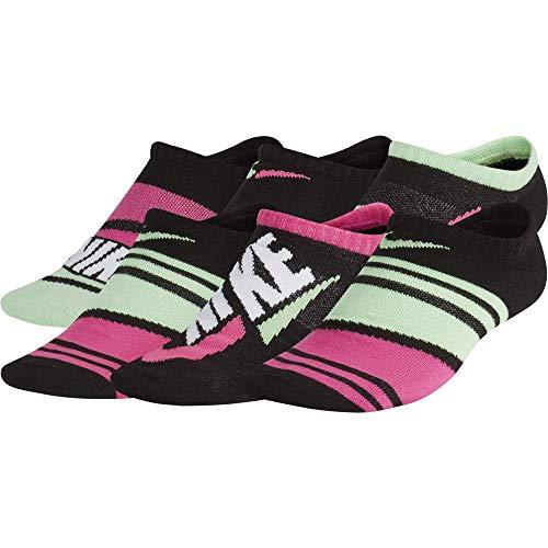 Nike GFX Socken für Mädchen, Jugendliche, leicht, No Show, 6 Paar S Schwarz/Lethal Pink/mehrfarbig