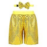 Agoky Pantalones Cortos para Niña Niño Traje de Baile Callejero Hip Hop con Lazo Ropa de Danza Jazz Lentejuelas Hot Shorts Disfraz de Bailarina Amarillo 3-4 Años