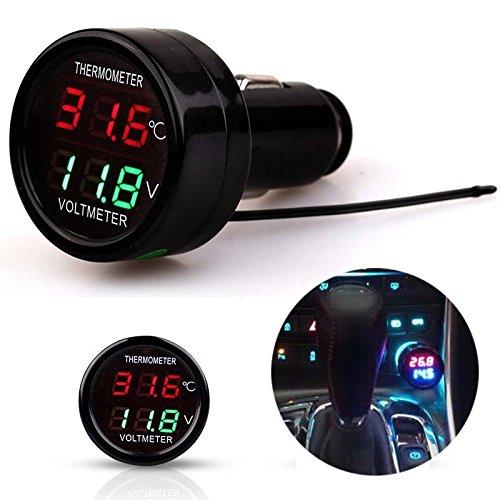 Maso - Termómetro y voltímetro para coche, 2 en 1, con pantalla LED, color rojo y verde, para todos los coches de 12 a 24 V, todoterrenos, camiones, autobuses, etc.
