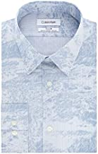Calvin Klein Men's Dress Shirt Slim Fit Non Iron Stretch Print, Blue Frost, 16