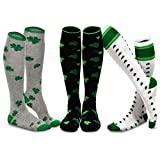 TeeHee St. Patricks Day Cotton Knee High Socks for Women 3-Pack (Shamrock)