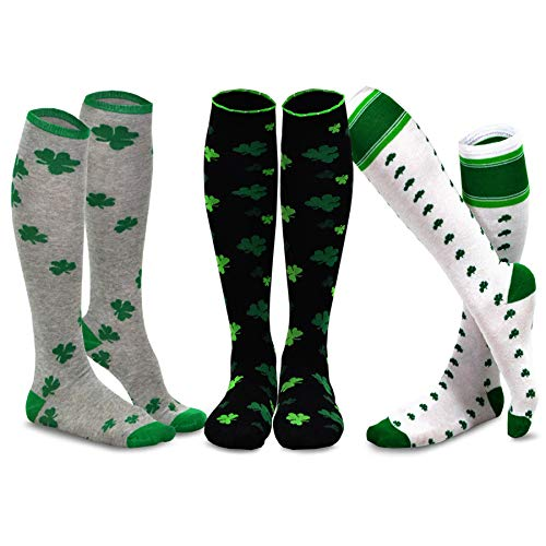 TeeHee St. Patricks Day Cotton Knee High Socks for Women 3-Pack (Shamrock)