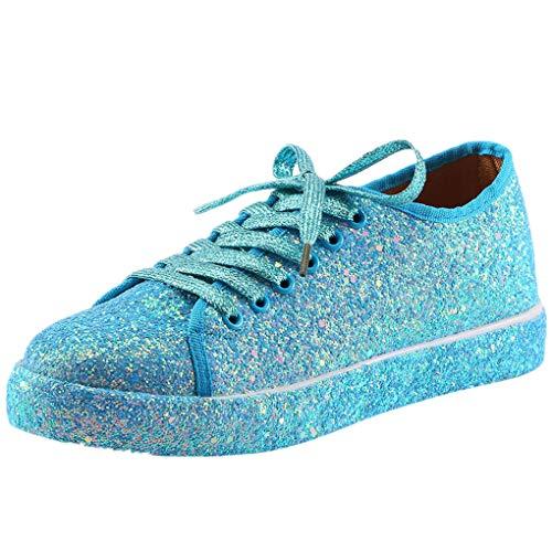 Flatform Sneaker für Damen/Dorical Frauen Damen Pailletten Glitzer Lackleder Elegant Sneakers Outdoor Schnürer Sportschuhe Laufschuhe Glänzende Schuhe Freizeitschuhe Ausverkauf (37 EU, Z1-Blau)