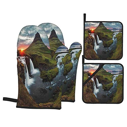 QYUESHANG Oven Mitts and Pot Holders Sets of 4,Nature Cascade Stream Wildlife Print,Polyester BBQ Gloves with Quilted Liner Resistant Hot Pads for Kitchen Cooking Baking Grilling