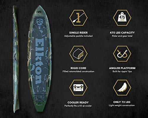 Elkton Outdoors Fishing Paddle Board - IBIS Pro 12 ft Hybrid Angler SUP Kayak Package, Ultra Durable Rotomolded Construction (Camo)