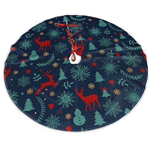 Christmas Snowflake Tree Reindeer Bell Xmas Tree Skirt New Year Print Skirt Size 30'