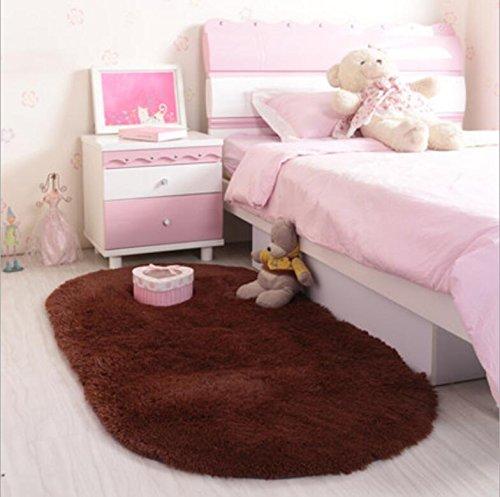ACTCUT Super Soft Indoor Modern Shag Area Rugs Fluffy Beding Room Shaggy Carpets Dining Living Room Nursery Rug 2.6'x 5', Oval Coffee