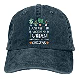 Photo de Plant Garden I Just Want to Work in My Garden and Hangout with My Chickens Casquette de baseball réglable Unisexe Lavable - Bleu - taille unique