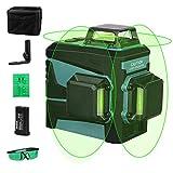 Kreuzlinienlaser, WESCO 3X 360° Kreuzlinienlaser Grün, 3D 12 Linien selbstnivellierendes Linienlaser, Laser Level mit manueller und automatischer Modus, inkl. Lithiumbatterie und Magnethalterung
