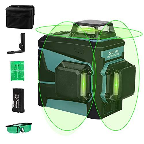WESCO Livella Laser Verde 20m, 3 X 360° Linea Auto-Livellamento a Croce ± 3° con Base Magnetico, con Li-ion Batteria da 3.7V 4400mAh Ricaricabile, Bordo Bersaglio Laser e Occhiali WS8912K