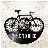 GenericBrands Disco de Vinilo Reloj de Pared Bicicleta Bici CD Record Clock Negro Hollow Record De Vinilo Reloj De Pared Estilo Antiguo Que Cuelga Reloj para Hogar Decoración 12 Pulgadas