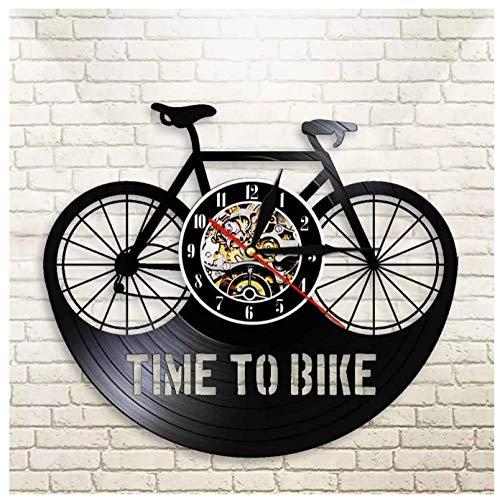 GenericBrands Reloj de Pared de Vinilo Bicicleta Bici Disco Retro Arte Creativo Regalo Moderno decoración del hogar Reloj 12 Pulgada(Sin Luces)