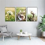 Bosque Impresión en lienzo Póster Artístico Flor de trigo Diente de león Ciervo ardilla Pintura de animales Imágenes artísticas de pared Habitación Decoración para el hogar (30x50cm) X3 Sin marco