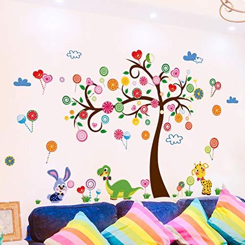Dinosaur Konijn Dieren Muurstickers Vinyl DIY Snoepjes Boom Muurdecoratie voor Kids Slaapkamer Kwekerij School Decoratie 60x90cm