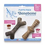 Benebone Puppy 2-Pack Maplestick/Zaggler Dog Chew Toys, Made in USA, Real Bacon Flavor