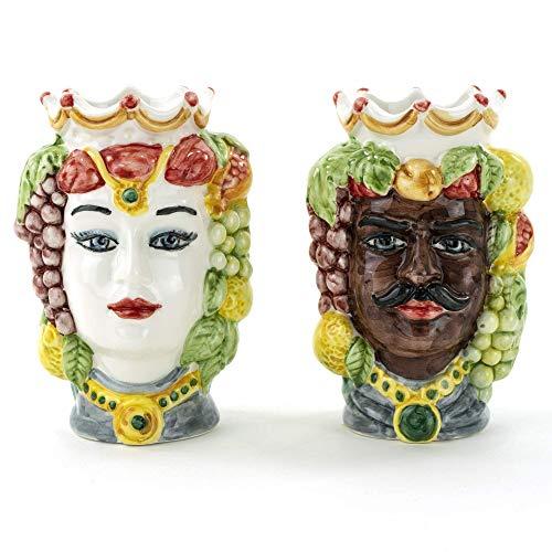 Coppia teste di moro H cm 14 in ceramica di Caltagirone fatte a mano