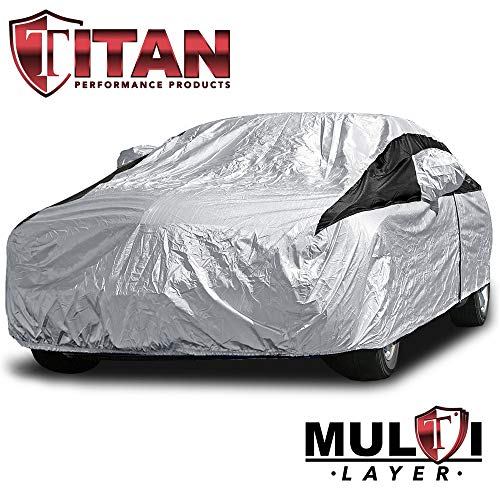 Premium Multi-Layer PEVA Car Cover for Camry, Mustang, Accord and More. Waterproof and UV Protective. Measures 200 Inches. Protective Lining, Driver-Side Zippered Opening, Tie-Down Straps